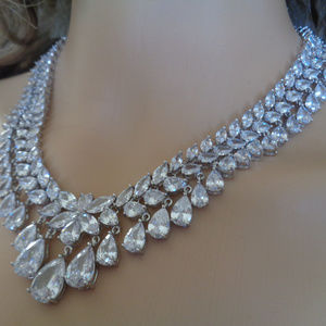 18K white Gold Filled Bridal Jewelry Necklace